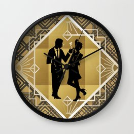 Black and Gold Roaring Twenties Silhouette Couple Wall Clock