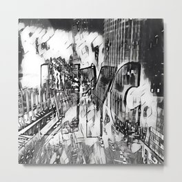 NYC Black and White edit Metal Print