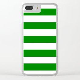 Office green - solid color - white stripes pattern Clear iPhone Case
