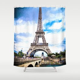 Eiffel Tower Monet Shower Curtain