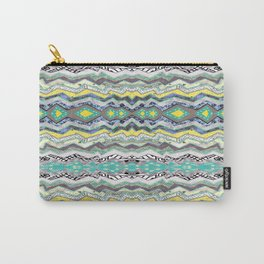 Teal Yellow White Midnight Aztec Carry-All Pouch