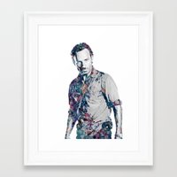 rick grimes Framed Art Prints featuring Rick Grimes by NKlein Design