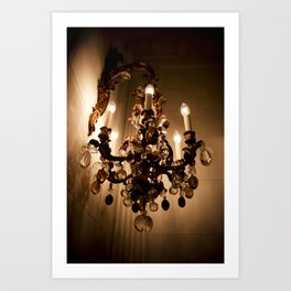 Sepia Bejeweled Wall Sconce Hanging Tear Drop Crystals Light Art Print