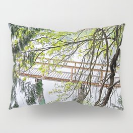 RAINY SPRING DAY AT THE DOCK IN THE WOODS Pillow Sham