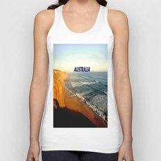 Sunset glowing on the limestone Cliffs Unisex Tank Top