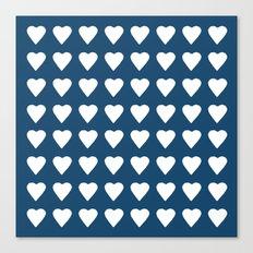 64 Hearts Navy Canvas Print