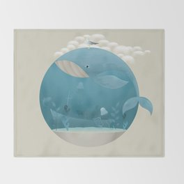 Seagull rest over whale Throw Blanket