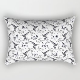 Pretty beautiful cute hummingbirds, delicate little leaves black and white monochrome pattern. Gift Rectangular Pillow
