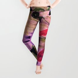 Purple Garden. Purple, Vines, Garden, Flowers, Green, Abstract, Jodilynpaintings Leggings