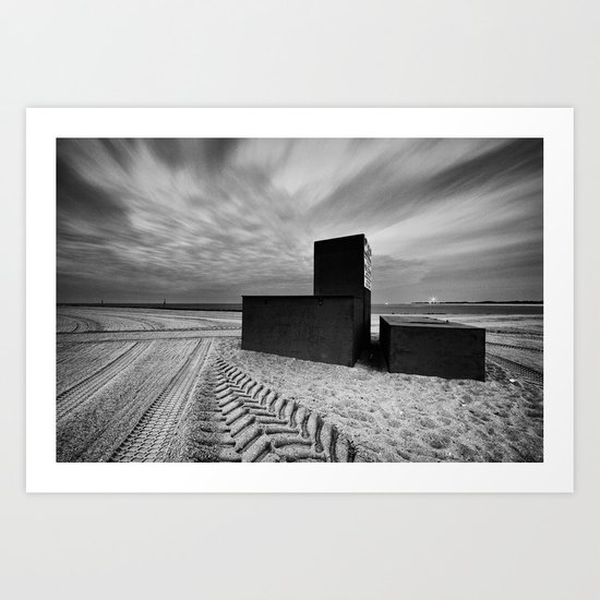 Three Locked Boxes on a Groomed Beach Before Dawn Art Print