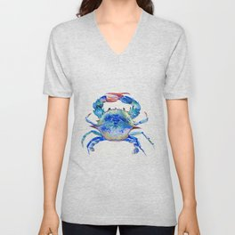 Blue Crab, crab restaurant seafood design art Unisex V-Neck