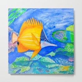 yellow and parrott tropical fish Metal Print