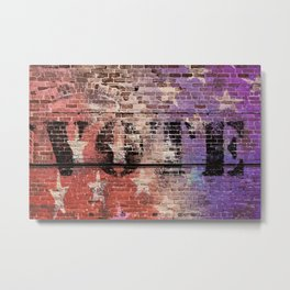 Brick Wall with the Word VOTE applied to the background Metal Print