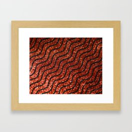 Red Glitter With Black Squiggle Pattern Framed Art Print