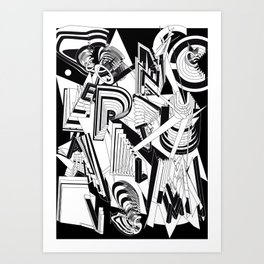 History of Art in Black and White. Conceptualism Art Print
