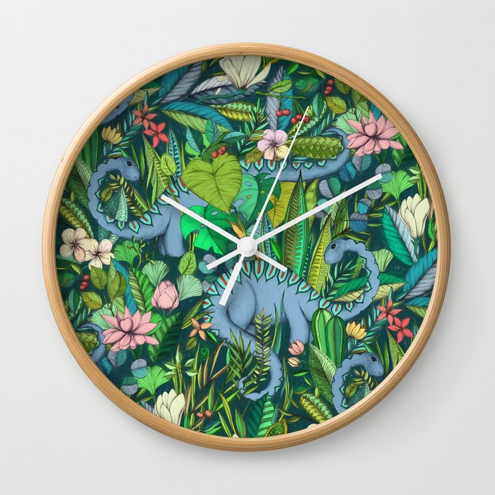 Improbable Botanical with Dinosaurs - dark green Wall Clock