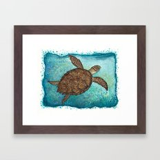 Hawksbill Sea Turtle ~ Watercolor Painting by Amber Marine Framed Art Print