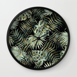 Jungle Dark Tropical Leaves #decor #society6 #pattern #style Wall Clock