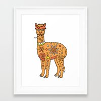 alpaca Framed Art Prints featuring Alpaca by Peggy Cline
