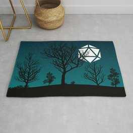 Starry Night Forest D20 Dice Moon Rug