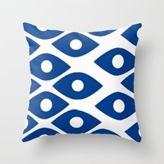 Blue and White Pattern Fish Eye Design Throw Pillow