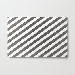 Pantone Pewter Gray & White Stripes Fat Angled Lines - Stripe Pattern Metal Print