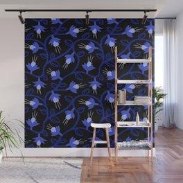 Midnight Blue Fuchsias & Vines Wall Mural