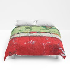 Dixon Red Green Abstract Painting Print Comforters