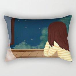 Elegant Gril In Room Drawing Rectangular Pillow