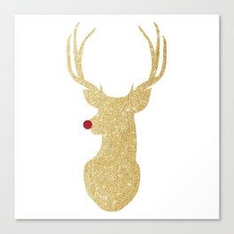 Rudolph The Red-Nosed Reindeer | Gold Glitter Canvas Print