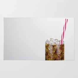 Fizzy Drink With Ice Against a White Background Rug