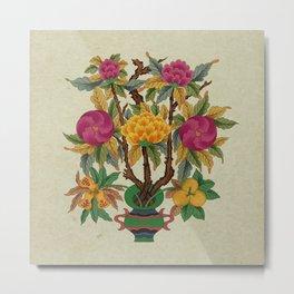 Peony vase A type : Minhwa-Korean traditional/folk art Metal Print