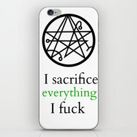 lovecraft iPhone & iPod Skins featuring Lovecraft Print Sacrifice Necronomicon  by Nikki L.