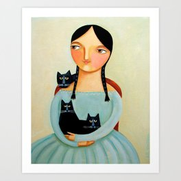 Woman with Three Black Cats painting by TASCHA Art Print