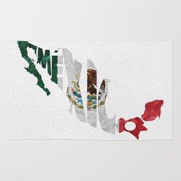 Mexico Typographic Flag Map Art Rug