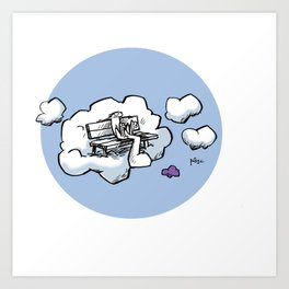 Cloud Bench for Squirrels Art Print