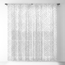 Abstract Leaf Pattern in Gray Sheer Curtain