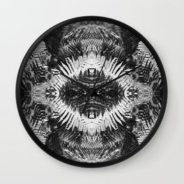 Ostrich Fern in Black and White Wall Clock