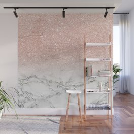 Modern faux rose gold pink glitter ombre white marble Wall Mural