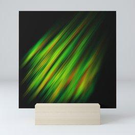 Colorful neon green brush strokes on dark gray Mini Art Print