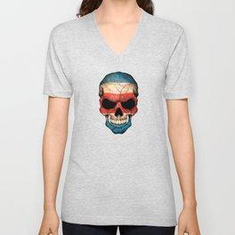 Dark Skull with Flag of Costa Rica Unisex V-Neck
