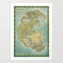 Pangea map Art Print