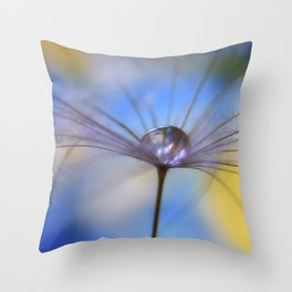 Cool Water A droplet on a Dandelion Seed Parachute Throw Pillow