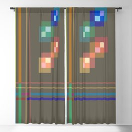 Squares and Lines Blackout Curtain