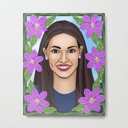 Alexandria Ocasio-Cortez portrait with clematis Metal Print
