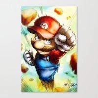 super mario Canvas Prints featuring Super Mario by markclarkii