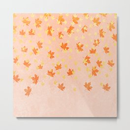 My favourite colour: Gold OCTOBER - Indian Summer - Rose Gold autumnal leaves Metal Print