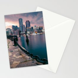 Boston, Massachusetts at Sunset 3 Stationery Cards
