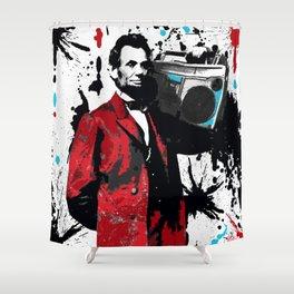 ABRAHAM LINCOLN INK SPLASH RED MAKE MUSIC NOT WAR Shower Curtain
