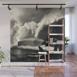 Sleeping with Sharks Black and White Wall Mural